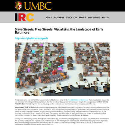 Slave Streets, Free Streets: Visualizing the Landscape of Early Baltimore - Imaging Research Center