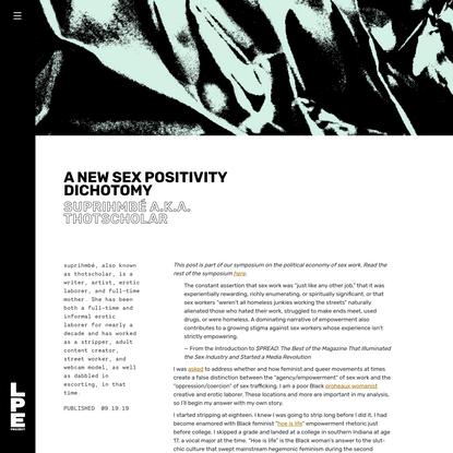 A New Sex Positivity Dichotomy