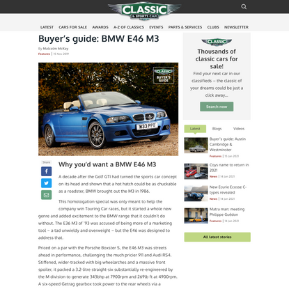 BMW E46 M3 buyer's guide: what to pay and what to look for | Classic & Sports Car