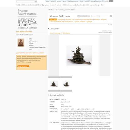 New-York Historical Society | Geometrical lathe
