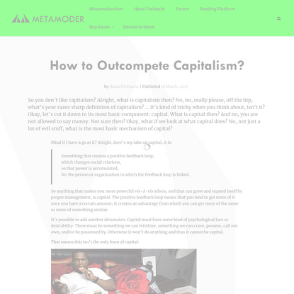 How to Outcompete Capitalism? - Metamoderna