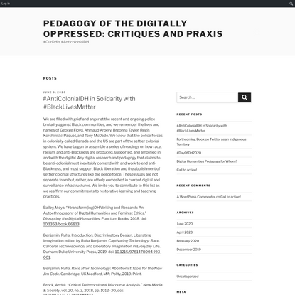 Pedagogy of the Digitally Oppressed: Critiques and Praxis – #OurDHIs #AnticolonialDH