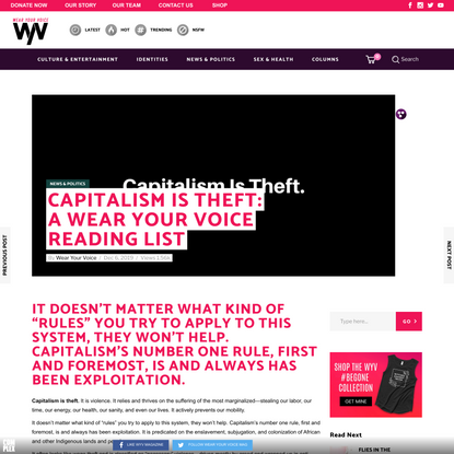 Capitalism Is Theft: A Wear Your Voice Reading List