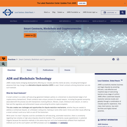 Smart Contracts, Blockchain and Cryptocurrencies | JAMS Mediation, Arbitration, ADR Services