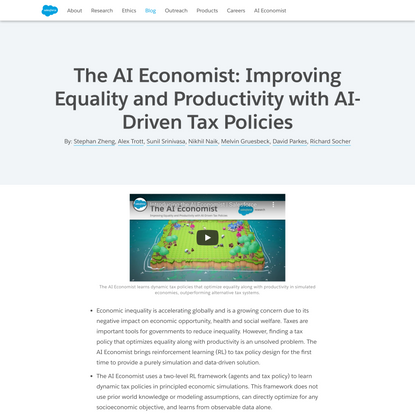 The AI Economist: Improving Equality and Productivity with AI-Driven Tax Policies
