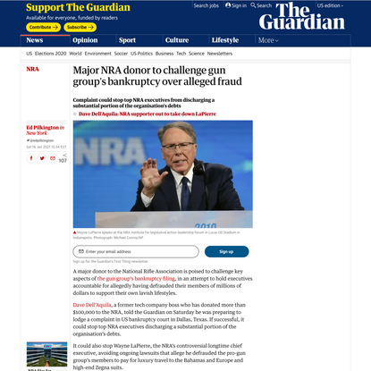 Major NRA donor to challenge gun group's bankruptcy over alleged fraud