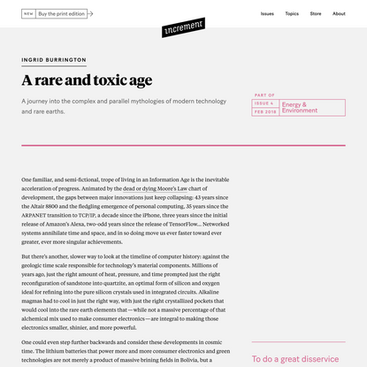 A rare and toxic age – Increment: Energy & Environment