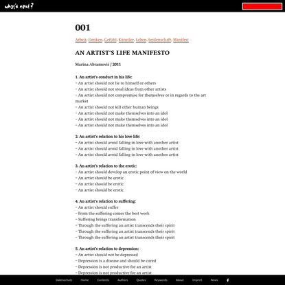 An artist's life Manifesto