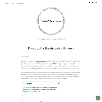 Facebook's Revisionist History - Justin Sherman