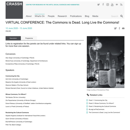 VIRTUAL CONFERENCE: The Commons is Dead. Long Live the Commons! – CRASSH