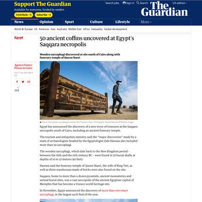 50 ancient coffins uncovered at Egypt's Saqqara necropolis