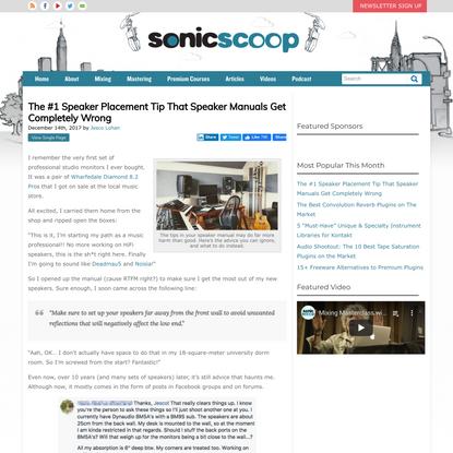 The #1 Speaker Placement Tip That Speaker Manuals Get Completely Wrong — SonicScoop