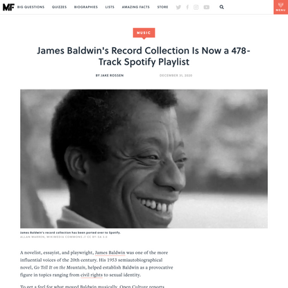 James Baldwin's Record Collection Is Now a 478-Track Spotify Playlist