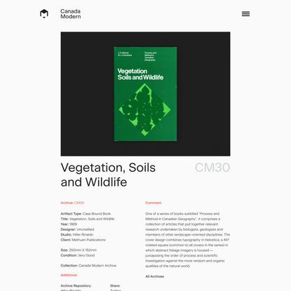 Vegetation, Soils and Wildlife - Canada Modern