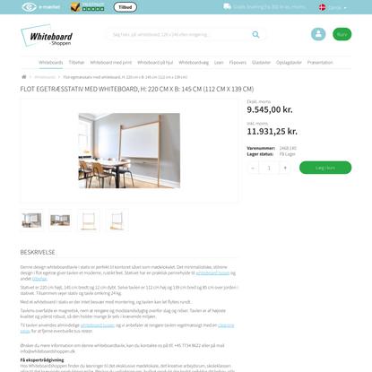 Flot egetræsstativ med whiteboard, H: 220 cm x B: 145 cm (112 cm x 139 cm)