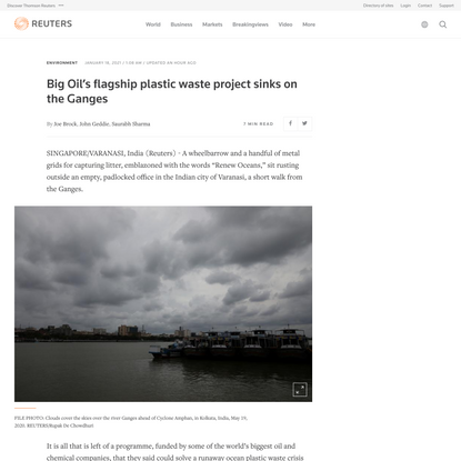 Big Oil's flagship plastic waste project sinks on the Ganges | Reuters