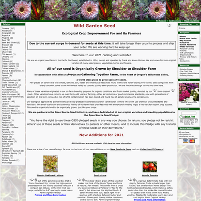 Certified Organic Seed From Wild Garden Seed