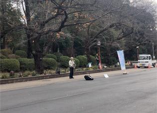 An elder playing saxophone at Ueno Park, Tokyo, Japn