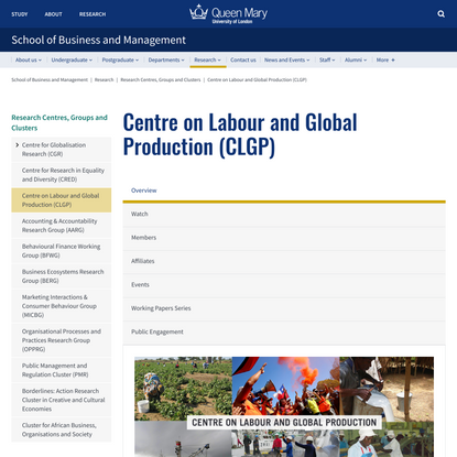Centre on Labour and Global Production (CLGP) - School of Business and Management
