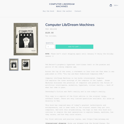 Buy Computer Lib/Dream Machines from Ted Nelson