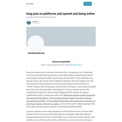long post on platforms and speech and being online