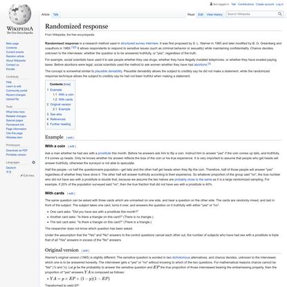 Randomized response - Wikipedia