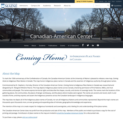 """Coming Home"" Map - Canadian-American Center - University of Maine"