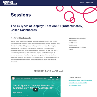 The 13 Types of Displays That Are All (Unfortunately) Called Dashboards - Tableau Conference 2019