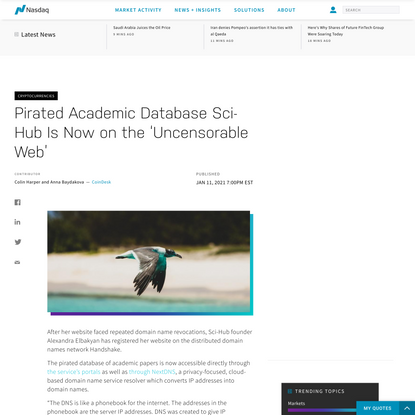 Pirated Academic Database Sci-Hub Is Now on the 'Uncensorable Web'