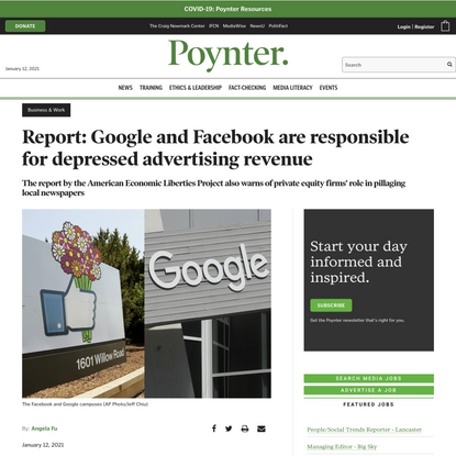 Report: Google and Facebook are responsible for depressed advertising revenue - Poynter