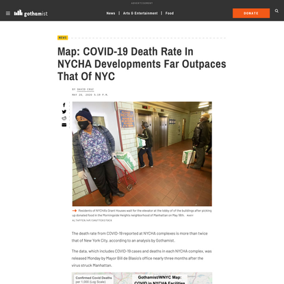 Map: COVID-19 Death Rate In NYCHA Developments Far Outpaces That Of NYC - Gothamist