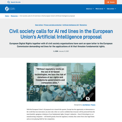 Civil society calls for AI red lines in the European Union's Artificial Intelligence proposal - European Digital Rights (EDRi)