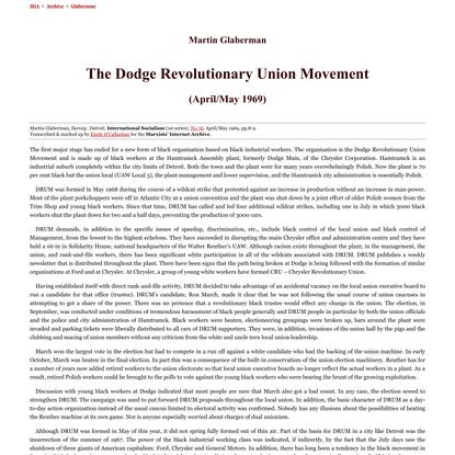 Martin Glaberman: Dodge Revolutionary Union Movement (1969)