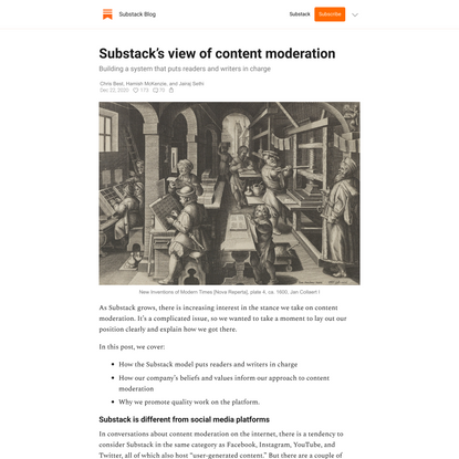 Substack's view of content moderation