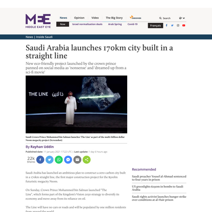 Saudi Arabia launches 170km city built in a straight line
