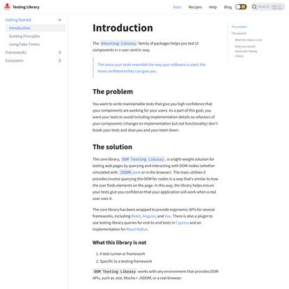 Introduction   Testing Library