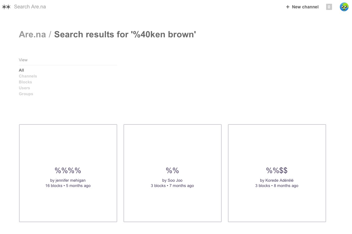 """searched """"@ken brown"""" it converted the @"""