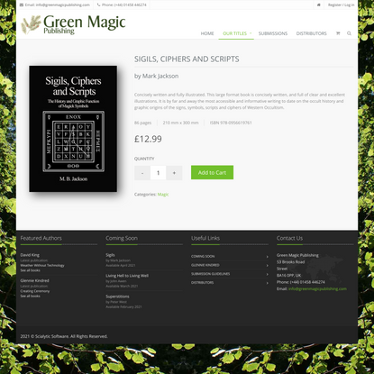 Sigils, Ciphers and Scripts by Mark Jackson - Green Magic Publishing