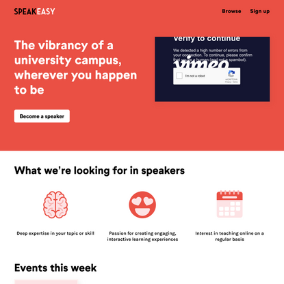 Speakeasy: Interactive, Online Talks Led by Top Experts