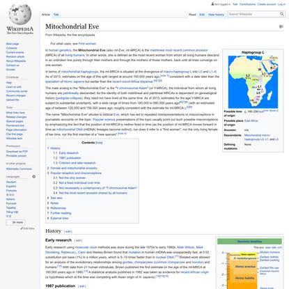 Mitochondrial Eve - Wikipedia