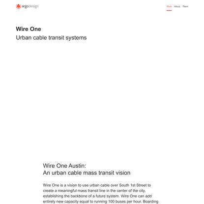 Wire One - An Urban Cable Mass Transit Vision.