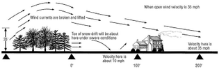 Figure 2. A windbreak properly located upwind of the house will greatly reduce both wind velocity and snow accumulation at the house.