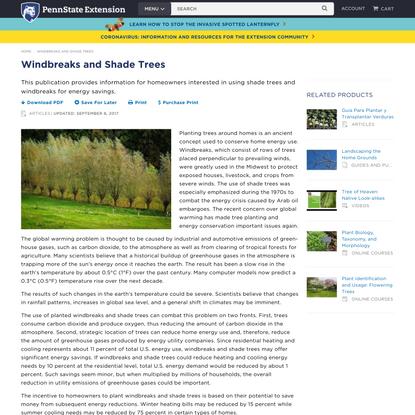 Windbreaks and Shade Trees