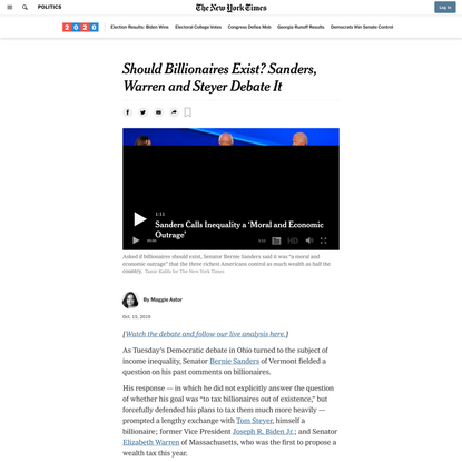 Should Billionaires Exist? Sanders, Warren and Steyer Debate It (Published 2019)