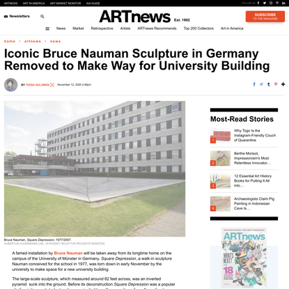 Iconic Bruce Nauman Sculpture in Germany Removed to Make Way for University Building