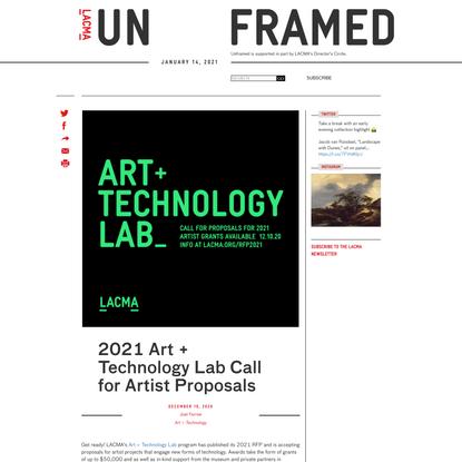 2021 Art + Technology Lab Call for Artist Proposals | Unframed