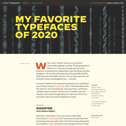 My Favorite Typefaces of2020 — I Love Typography