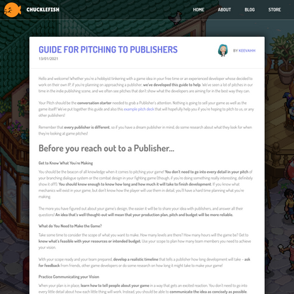 GUIDE FOR PITCHING TO PUBLISHERS - Chucklefish