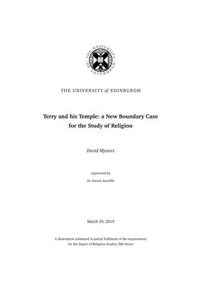 Terry and His Temple: a New Boundary Case for the Study of Religion