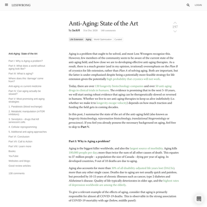 Anti-Aging: State of the Art - LessWrong